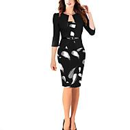 Γυναικεία Κομψό Εφαρμοστό Φόρεμα - Γεωμετρικό Ως το Γόνατο