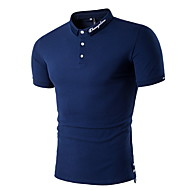 남성용 솔리드 셔츠 카라 패치 워크 - Polo 면 푸른 L