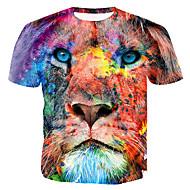 T-shirt Męskie Nadruk Bawełna Okrągły dekolt Kolorowy blok / 3D / Zwierzę Tęczowy XL