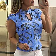 Mulheres Tamanhos Grandes Blusa Estampado, Geométrica Delgado Cinzento XXXL