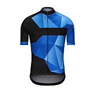 Herre Kortærmet Cykeltrøje - Blå Cykel Trøje Toppe Sport Terylene Tøj / Høj Elasticitet