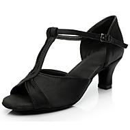 povoljno -Žene Plesne cipele Saten Cipele za latino plesove Štikle Kubanska potpetica Moguće personalizirati Srebro / Fuksija / Braon / Seksi blagdanski kostimi / Koža / Vježbanje