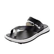 رجالي أحذية الراحة PU الصيف كاجوال صنادل غير الانزلاق ألوان متناوبة أسود / بني