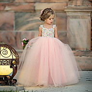Baby Mädchen nette Art Blumen Gitter Ärmellos Maxi Polyester Kleid Rosa