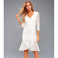 Damen Elegant Hülle Kleid - Spitze, Solide Knielang