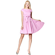 فستان نسائي متموج عتيق طباعة طول الركبة