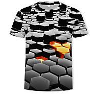 זול -קולור בלוק / 3D צווארון עגול בסיסי / סגנון רחוב טישרט - בגדי ריקוד גברים דפוס שחור XXXXL / שרוולים קצרים