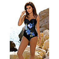 Women's Boho Blue Red Underwire Cheeky One-piece Swimwear - Floral Print L XL XXL Blue