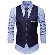 Per uomo Quotidiano Lavoro Standard Gilè, Tinta unita A V Senza maniche Cotone Collage Blu marino / Grigio / Vino XL / XXL / XXXL