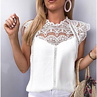 Women's Sexy Blouse - Solid Colored Lace / Chiffon White XXXL / Spring / Summer