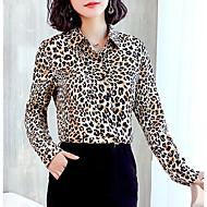 Mulheres Camisa Social Leopardo Marron XL