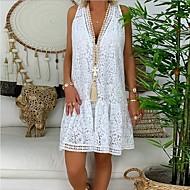 Femme Mi-long Chemise Robe Vert Blanc Noir M L XL Sans Manches