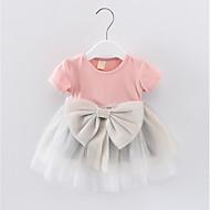 Baby Jente Grunnleggende / Gatemote Lapper Paljetter / Sløyfe Kortermet Knelang Bomull Kjole Rosa