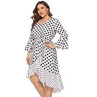 Kadın's Temel Kılıf Elbise - Yuvarlak Noktalı Asimetrik