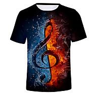 economico -T-shirt Per uomo Monocolore / 3D Rotonda Nero / Manica corta
