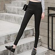 Femme Basique Chino Pantalon - Couleur Pleine Noir