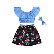 Bebek Genç Kız Boho / Sokak Şıklığı Desen Fiyonklar / Desen Kısa Kollu Normal Normal Pamuklu Kıyafet Seti Gökküşağı