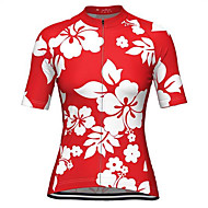 Malciklo Dames Korte mouw Wielrenshirt - Rose Rood Flora / Botanisch Fietsen Shirt Kleding Bovenlichaam Sneldrogend Zweetafvoerend Sport Teryleen Kleding / Micro-elastisch / Grote maten