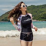 LCDRMSY 여성용 러쉬 가드 수영복 수영복 자외선 차단 빠른 드라이 긴 소매 수영 다이빙 파도타기 그림 여름 / 약간의 신축성