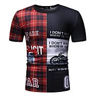 Tee-shirt Homme, Bloc de Couleur / Damier / Graphique Mosaïque / Imprimé Bleu XL