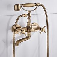 Zuhany csaptelep / Kád csaptelep - Antik Antik bronz Kifolyócső és zuhany Kerámiaszelep Bath Shower Mixer Taps / Két fogantyúval két lyukat