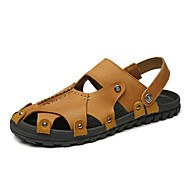 Men's Comfort Shoes Nappa Leather Spring / Summer Sporty / Casual Sandals Breathable Black / Brown