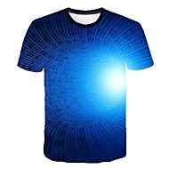 זול -3D צווארון עגול טישרט - בגדי ריקוד גברים דפוס כחול ים XXXXL