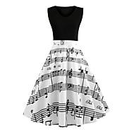 Damen Retro Das kleine Schwarze Kleid Buchstabe Übers Knie