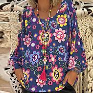 V-hals Store størrelser Bluse Dame - Blomstret Rosa XXXL