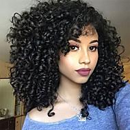 Naamiaistarvikkeet / Synteettiset peruukit Afro Kinky / Jerry curl Tyyli Epäsymmetrinen leikkaus Suojuksettomat Peruukki Musta Jet Black Synteettiset hiukset 14 inch Naisten Muodikas malli