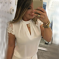 Women's Slim Blouse - Solid Colored Lace / Patchwork Stand White XXXL