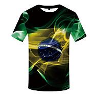 Homens Tamanhos Grandes Camiseta Estampado, 3D Decote Redondo Preto XXXL