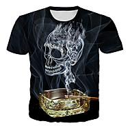 Hombre Tallas Grandes Estampado Camiseta, Escote Redondo Cráneos Negro XXXXL