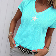 Mulheres Camiseta Sólido Cinzento XXXL