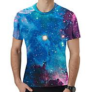 Herrn Galaxis / 3D T-shirt, Rundhalsausschnitt Druck Regenbogen XL