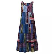 Kadın's Boho Çin Stili Kombinezon Çan Elbise - Geometrik Ekose Kareli Maksi