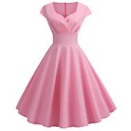 저렴한 -여성용 빈티지 1950년대 스윙 드레스 - 솔리드 무릎길이 V 넥 / 데이트