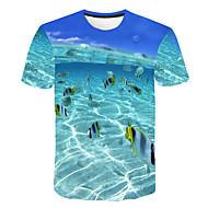 Herre - Geometrisk / 3D T-shirt Blå XXXL