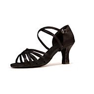 Mujer Satén Zapatos de Baile Latino Tacones Alto Tacón Cubano Personalizables Negro / Marrón / Leopardo / Rendimiento / Cuero