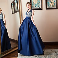 A-Line Halter Neck Floor Length Satin Dress with Crystals by LAN TING Express