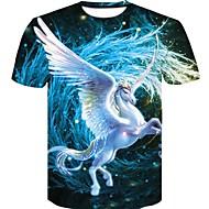 Heren Print Grote maten - T-shirt Katoen 3D / dier Ronde hals Slank blauw XXL