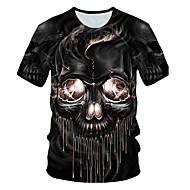 Tryck, Färgblock / 3D / Dödskalle T-shirt - Grundläggande / Streetchic Herr Svart XXXXL