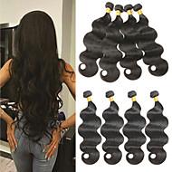 Lot de 4 Cheveux Brésiliens Ondulation naturelle 10A Cheveux Vierges Naturel Tissages de cheveux humains 8-26 pouce Nature Noir A Ombre Tissages de cheveux humains Sans odeur Soyeux Extensions de