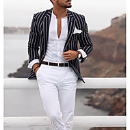 Men's Blazer, Striped Notch Lapel Polyester Black