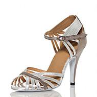 저렴한 -여성용 댄스 신발 PU 라틴 슈즈 스플리싱 힐 슬림 하이힐 주문제작 가능 실버 / 성능