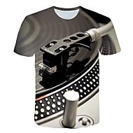 billige -Rund hals Store størrelser T-skjorte Herre - 3D, Trykt mønster overdrevet Lyseblå / Kortermet