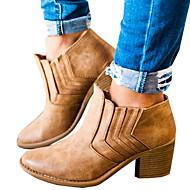 povoljno -Žene Čizme Kockasta potpetica Okrugli Toe PU Čizme gležnjače / do gležnja Zima Crn / Braon / Sive boje
