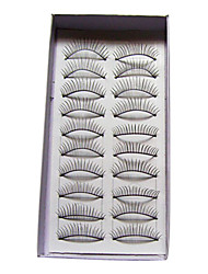 cheap -10 Pairs Black False Eyelashes Lengthening Thicker Fiber Natural Looking and Curved Lashes