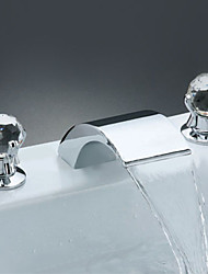 cheap -Two Handles Widespread Waterfall Bathroom Sink Faucet or Bathtub Faucet - Free Shipping (0698 -M-6001)