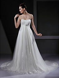 A-Line Sweetheart Court Train Tulle Wedding Dress with Appliques Draped Flower by LAN TING BRIDE®